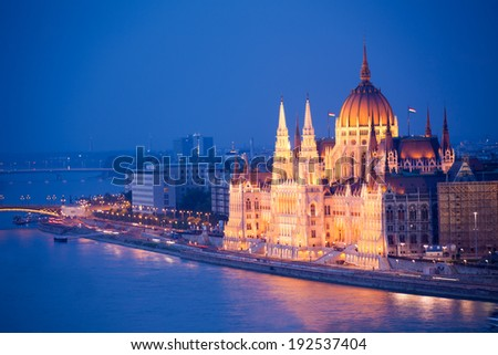 Beautiful Parliament view in Budapest at night - stock photo