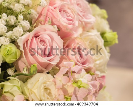 Beautiful Pastel Pink Rose at The Corner of The Big Bouquet of Flowers in The Vase for Interior, Selective Focus with Copy Space to input Text - stock photo