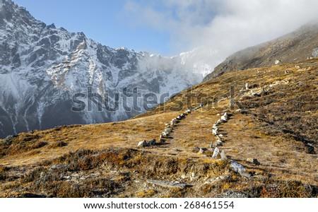 Beautiful path on slope of the Sounder peak (near Thame village) - Nepal, Himalayas - stock photo