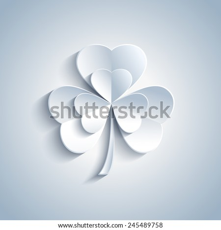 Beautiful Patricks day card with grey 3d leaf clover. Trendy gray Patricks day background. Modern spring background. Raster illustration - stock photo