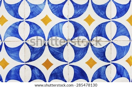 Beautiful patterned Azulejo tiles that can be found on houses in Lisbon - stock photo