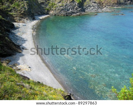 Beautiful pebble beach of Terrimbo in Vermilion coast, Mediterranean sea, Pyrenees Orientales, Roussillon, France