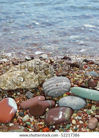 beautiful pebbles on the beach - stock photo