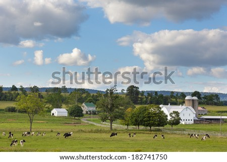 Beautiful Pennsylvania farm with holstein cattle in foreground - stock photo