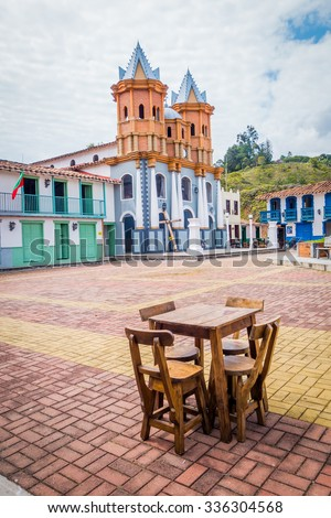 Beautiful Penol old town replica of the main street in old Guatape before it was inundated, Colombia - stock photo