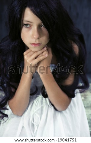 Beautiful pensive young girl