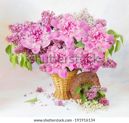 Beautiful peony bunch in vase - stock photo