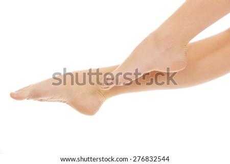 Beautiful perfect female slim legs. - stock photo