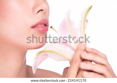 Beautiful Perfect Lips. Sexy Mouth close up. Beauty young woman Smile. Natural Plump full Lip. Lips augmentation. Close up over white background - stock photo