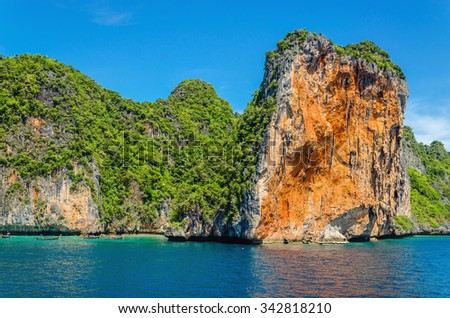 Beautiful Phi Phi archipelago, a group of islands in the Andaman Sea in Thailand, located between the island of Phuket and the mainland, most of them are wild and uninhabited - stock photo