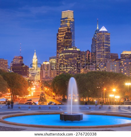 Beautiful Philadelphia skyline at night - stock photo