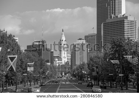 Beautiful Philadelphia skyline with blue sky - stock photo