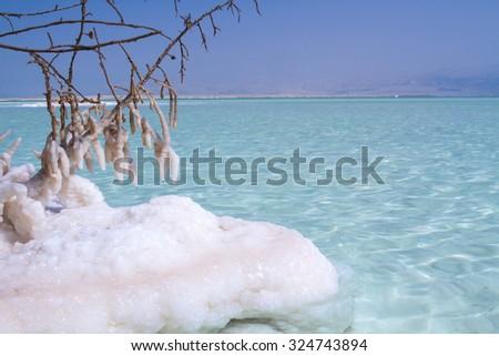Beautiful photo coast of the Dead Sea , Israel . - stock photo