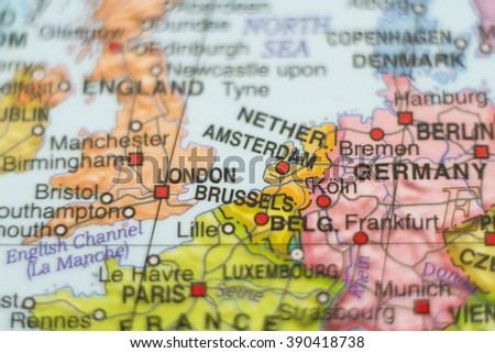 Beautiful photo of a map of Netherlands and the capital Amsterdam . - stock photo