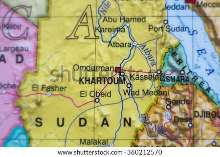 Beautiful photo of a map of Sudan and the capital Khartoum. - stock photo