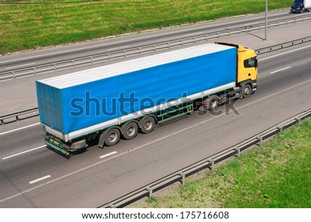Beautiful photo of big truck on highway - stock photo