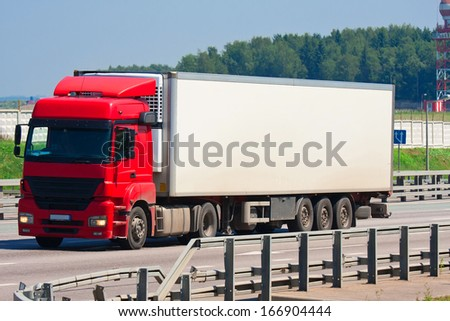 Beautiful photo of big truck on highway, Moscow, August 12, 2013 - stock photo