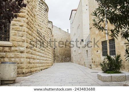Beautiful photo streets of the Old City of Jerusalem. Israel. - stock photo