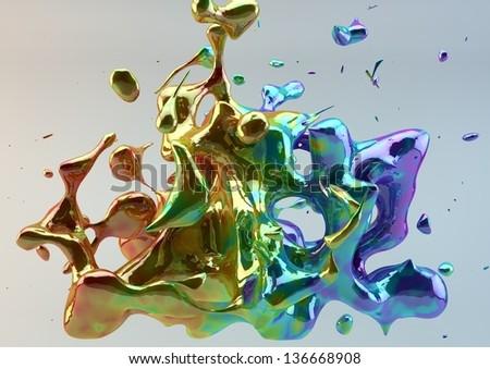 Beautiful Photorealistic Colorful Splash - stock photo