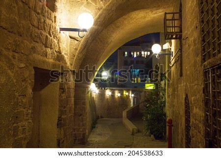 Beautiful photos in the streets of Old Jaffa port. Israel.