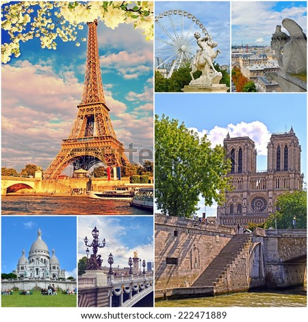 Eiffel Tower And Other Famous Places Landmarks Of Paris
