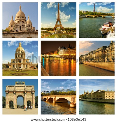 Beautiful Photos Of The Eiffel Tower In Paris And Other Famous Places Collage