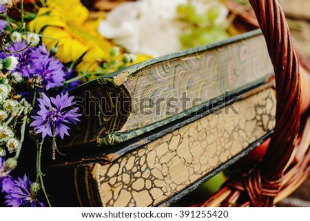 beautiful picnic wicker basket with colorful bouquet fruits and books on tweed plaid, close up, relaxing time - stock photo