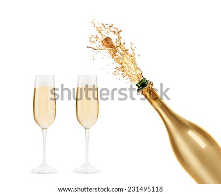 Beautiful picture of a bottle of champagne - stock photo