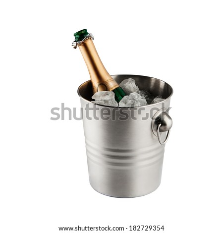 Beautiful picture of a bottle of champagne in an ice bucket