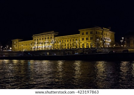 Beautiful pictures of the night Corvinus University. Budapest, Hungary .