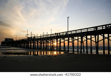 Beautiful Pier Sunset - stock photo