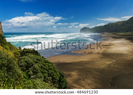 Beautiful Piha beach near Auckland with seen from mighty Lion Rock, New Zealand