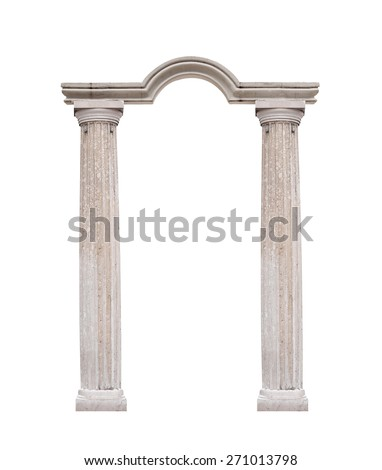 Beautiful pillar, columns in classical style isolated on white background. - stock photo