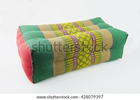 Beautiful pillows of Thailand on isolate white background.