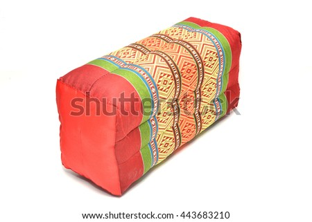 Beautiful pillows of Thailand on isolate white background. - stock photo
