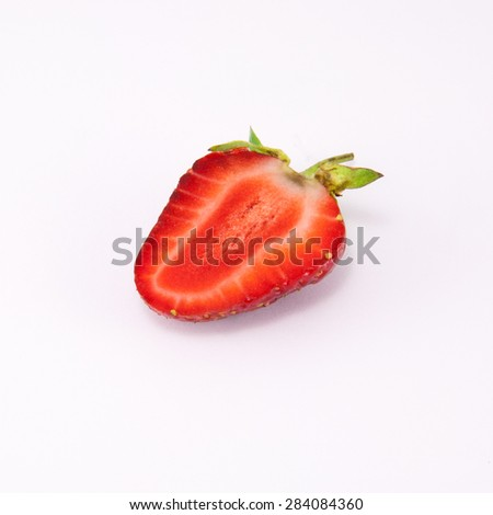 beautiful pink and ripe strawberry isolated on white background - stock photo