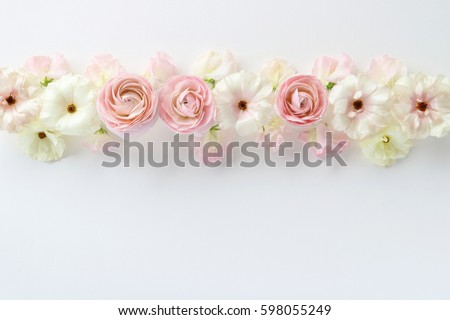 Beautiful pink white ranunculus flowers sweetpea stock photo edit beautiful pink and white ranunculus flowers and sweetpea flowers on white backgroundtop view mightylinksfo