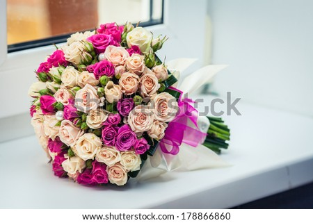 Beautiful pink and white roses, bridal bouquet