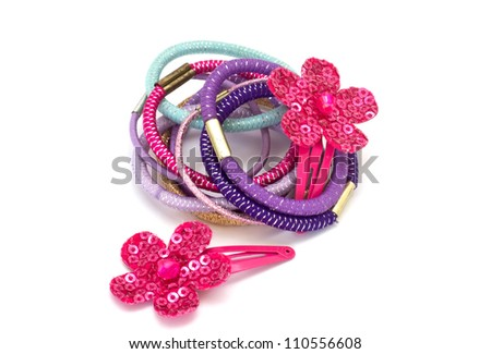 Beautiful pink barrettes isolated on white background