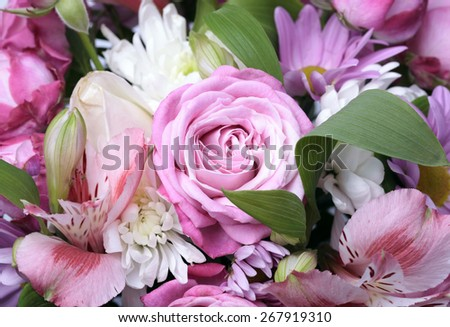Beautiful pink bouquet of flowers close up, selective focus - stock photo