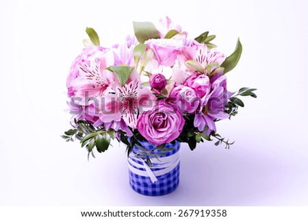 Beautiful pink bouquet of flowers, selective focus - stock photo