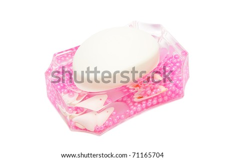 beautiful pink dish soap on a white background