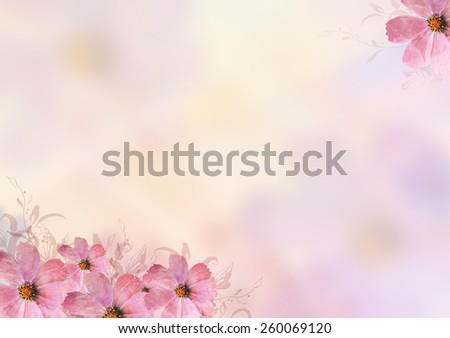 beautiful pink flowers over blur background. Pastel, sweet, romantic, valentine, birthday, invitation, wedding, natural, soft, spring concept background - stock photo