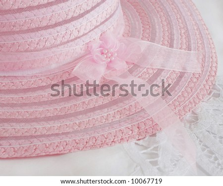 beautiful pink hat on lace