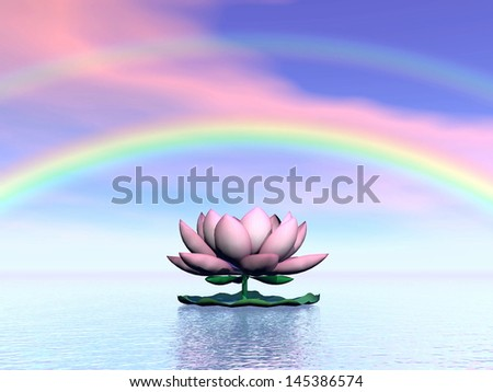 Beautiful pink lotus flower on water and under rainbow and cloudy sunset sky - stock photo