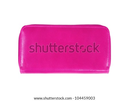 Beautiful pink makeup bag isolated on white