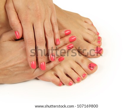 Beautiful pink manicure and pedicure