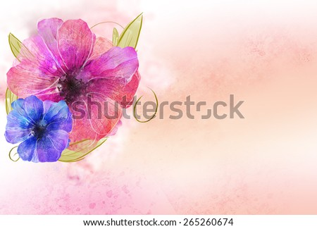 beautiful pink orange & violet flower over grunge background. Romantic, nature, flora, bouquet template background - stock photo