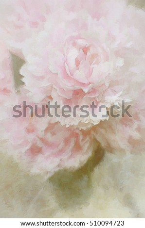 Beautiful pink peonies transformed into a pale colored painting