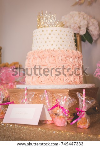 Beautiful Pink Princess Baby Shower Cake. Crown On Top And Cake Pops.  Flowers,